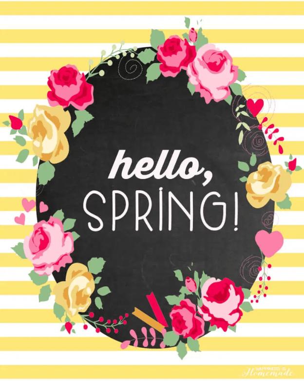 Hello Spring striped spring print
