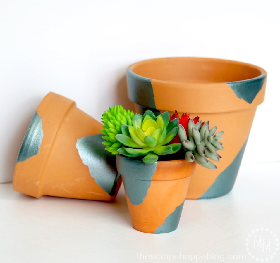 Patinated Pots - terra cotta pots painted to look like they have a patina