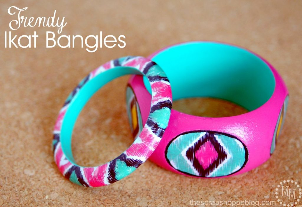 Trendy Ikat Bangles make a fun gift! Custom make them to coordinate with a specific outfit. Made with paint and decoupage. SO easy!