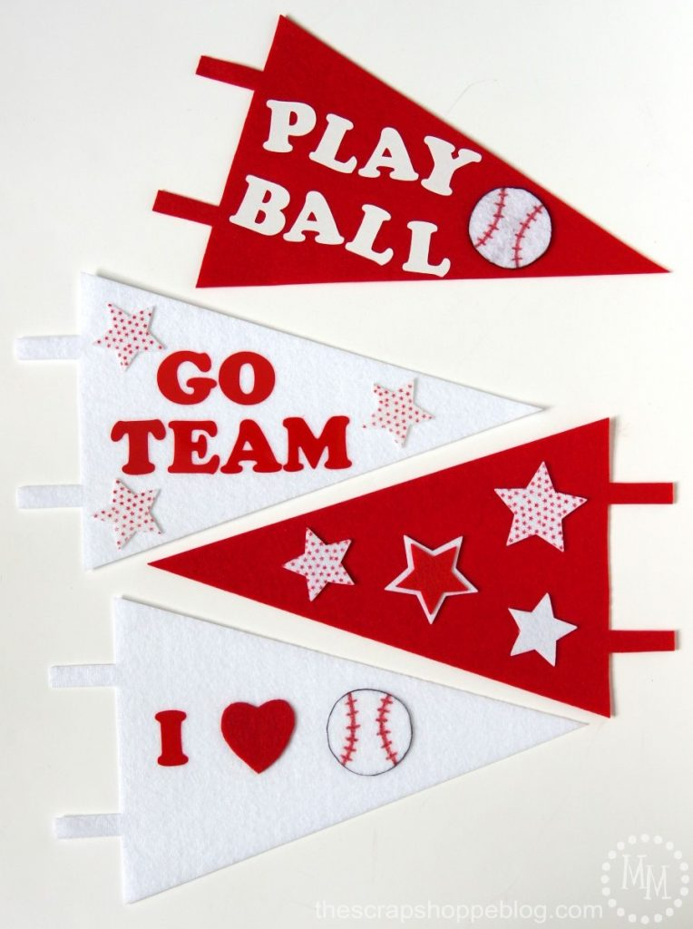 "DIY Baseball Pennants - make your own sports pennants to you support your team! Fun for kids' sports and end of the season ""trophies."""