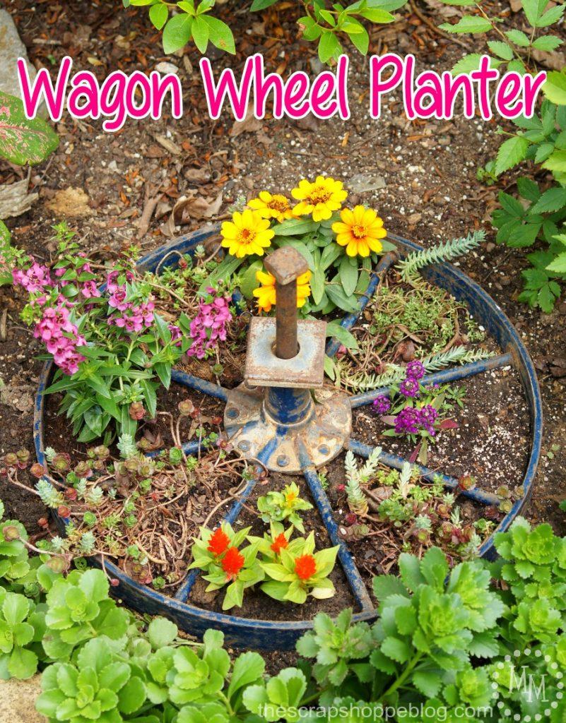Wagon Wheel Planter - turn an old wagon wheel into a fun planter for the flower garden!
