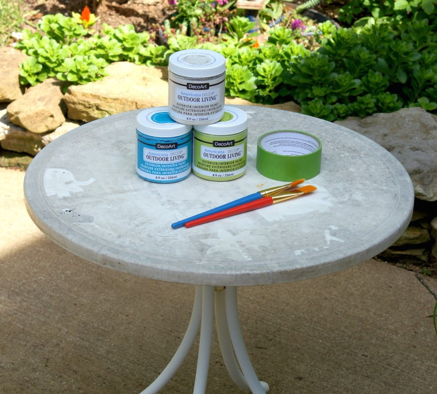 Painted and stenciled patio table