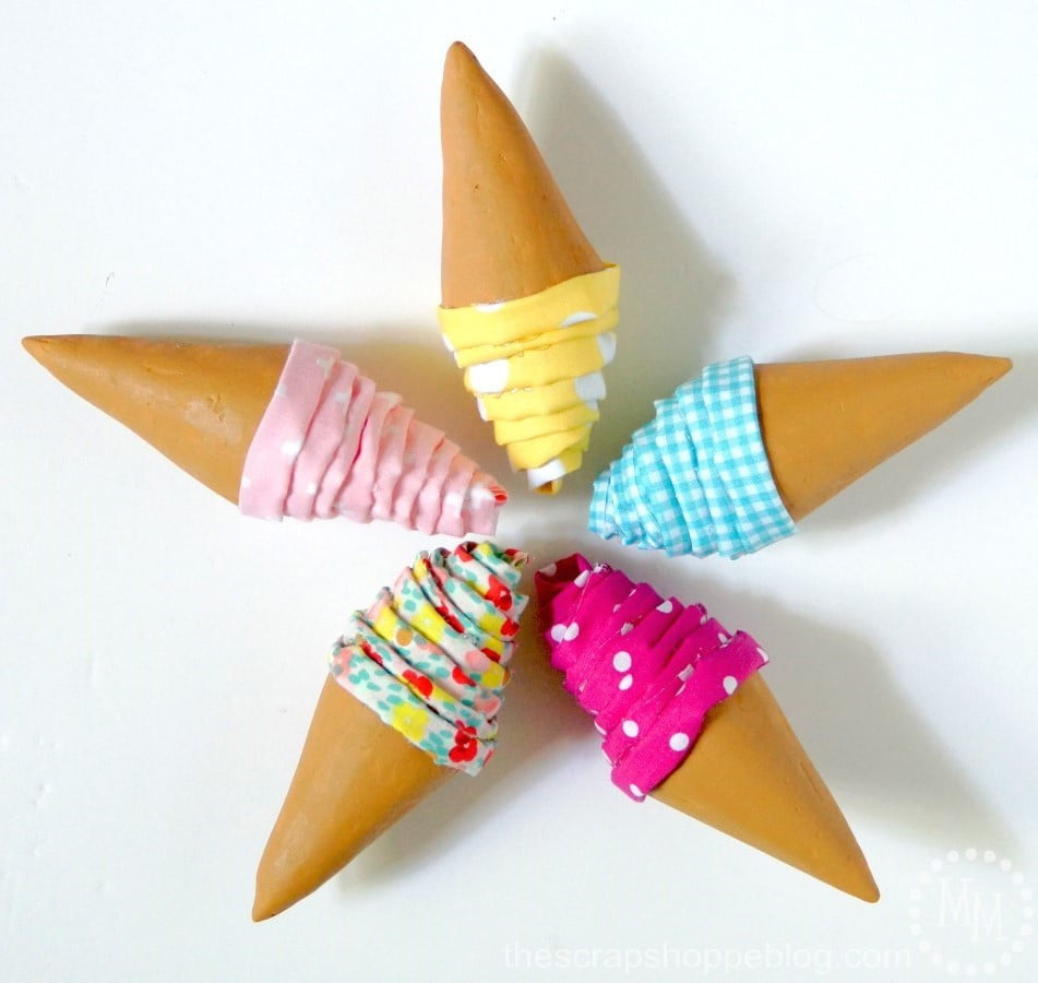 Foam Ice Cream Cone Garland using cones and fabric. So fun for an ice cream party! #MakeItFunCrafts
