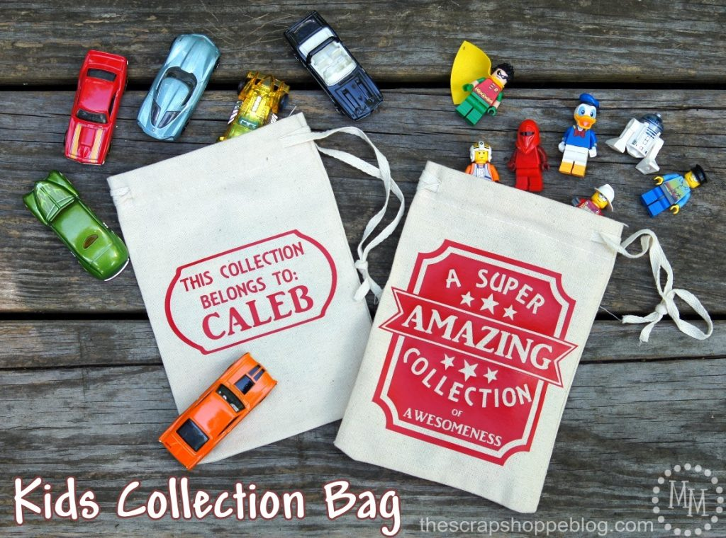 "Create a kids collection bag for them to carry their ""treasures"" in. Perfect for road trips and just around the house! Get the FREE SVG file!"