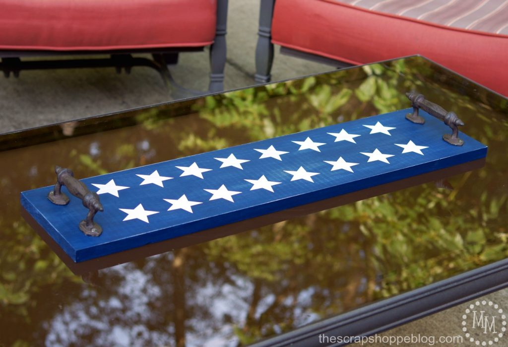 Star Spangled Rustic Tray using DecoArt's new Color Stains - makes staining with stencils SO easy!