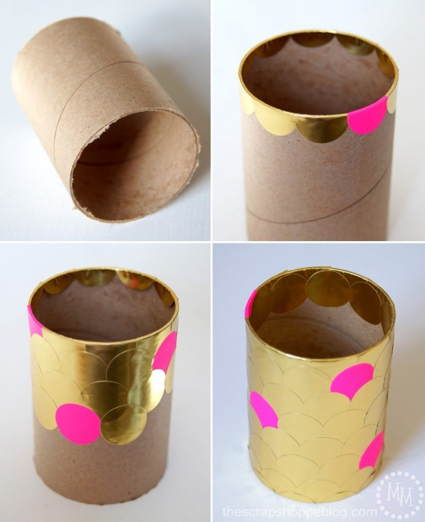 Create an upcycled vase with a cardboard tube. Dress it up with pretty foiled labels!