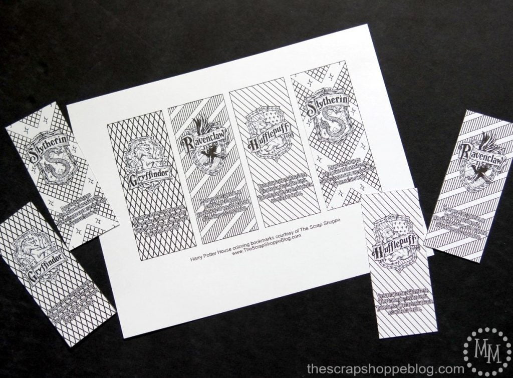 graphic relating to Harry Potter Printable Bookmark named Harry Potter Household Coloring Bookmarks - The S Shoppe