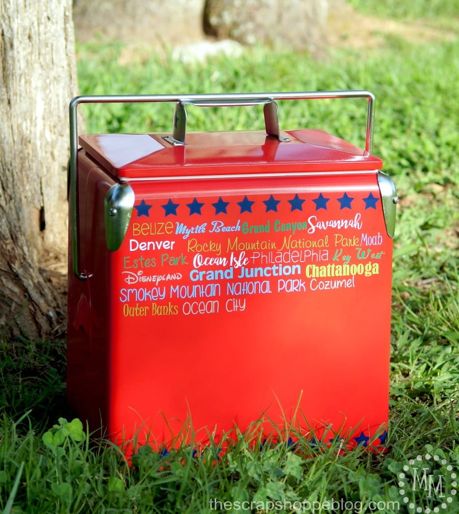 Turn an ordinary cooler into a travel cooler to record vacation desinations using adhesive vinyl!