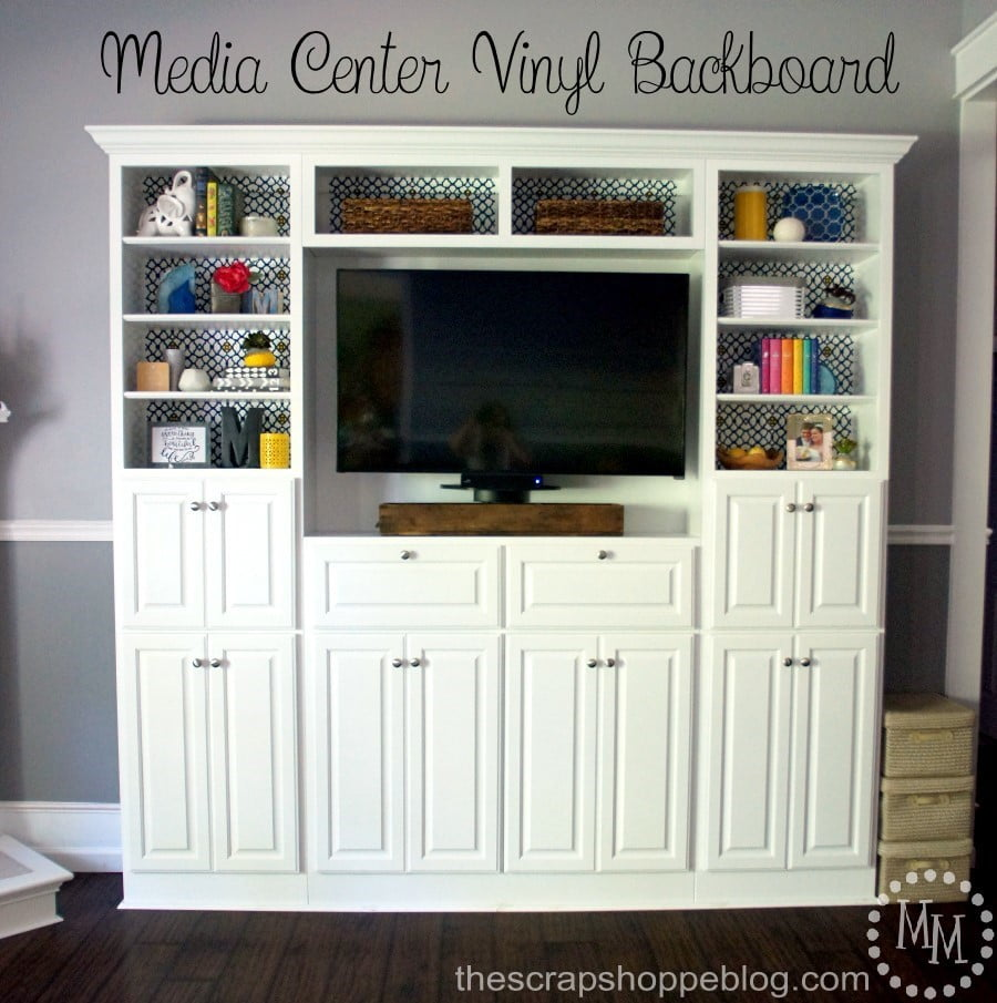 This plain Jane media center got a fun makeover with adhesive vinyl!