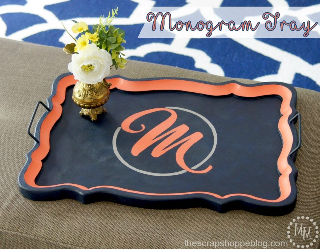 Give a tired tray a fresh update with Chalky Finish paint in trendy colors and a pretty monogram!