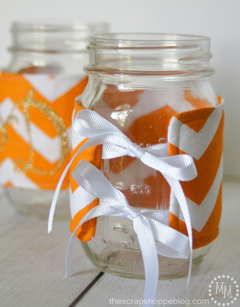 Make these Mason Jar Cozies in your football team's colors and personalize with initials. Great gift idea and only takes 15 minutes to make!