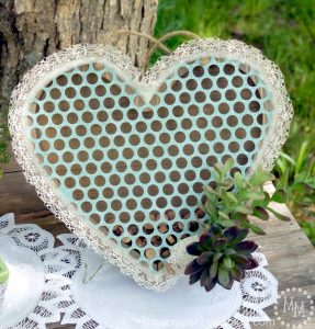 Create a Rustic Wedding Guest Book using a pre-fabbed heart pallet