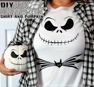 Make a DIY Jack Skellington shirt or decorated pumpkin using HTV and adhesive vinyl!