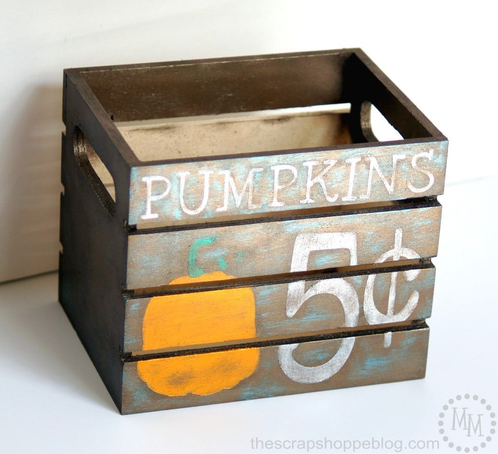 Fall Mantel with Mini Painted Pumpkin Crate