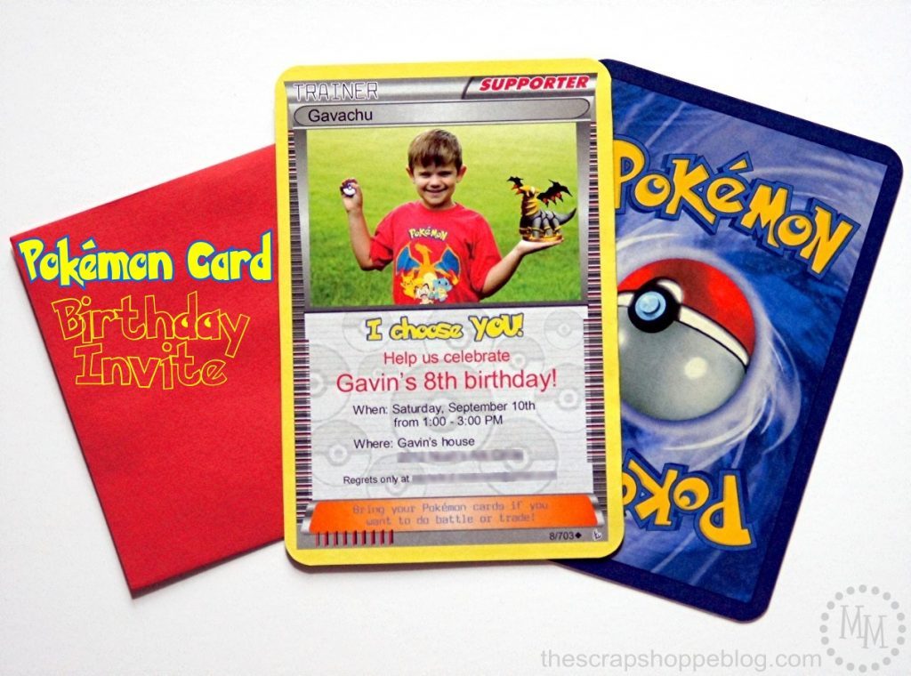 image relating to Printable Pokemon Trading Cards identified as Pokémon Card Birthday Invitation - The S Shoppe