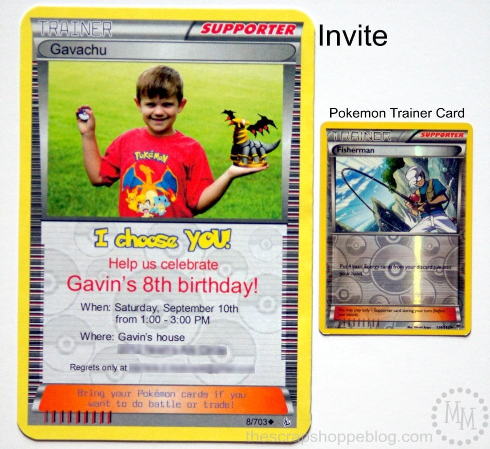 pokémon card birthday invitation the scrap shoppe