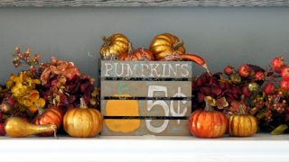 Fall Mantel & Painted Pumpkin Crate