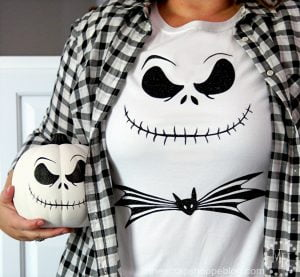 Make a DIY Jack Skellington shirt or decorated pumpkin using HTV and adhesive vinyl!