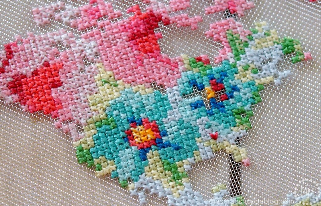 Make a framed floral cross-stitch map on new stitchable mesh from DMC!
