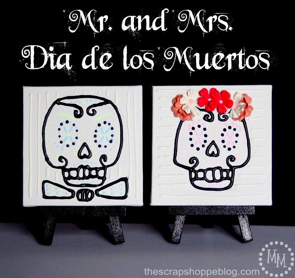 Make mini canvases of a couple to celebrate Dia de los Muertos!