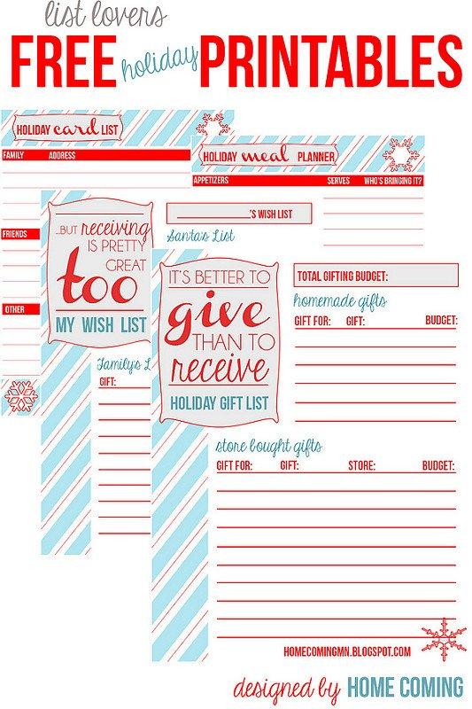 Free Holiday Printables