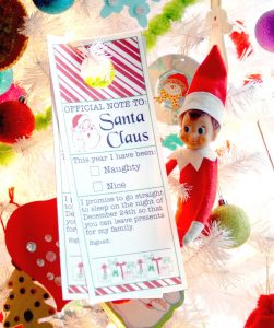 Note to Santa Printable Door Hanger - Perfect for hanging on the kid's bedroom door on Christmas Eve!