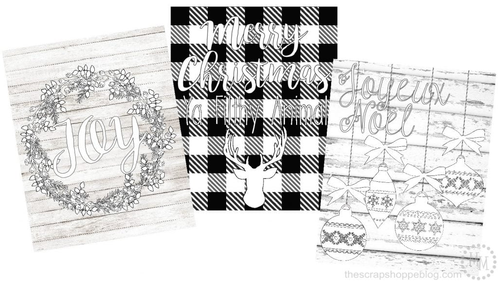 these free christmas coloring sheets can be framed and used as wall art when complete
