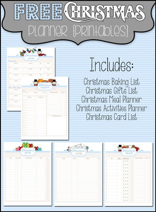 Punchy image throughout christmas planner printable