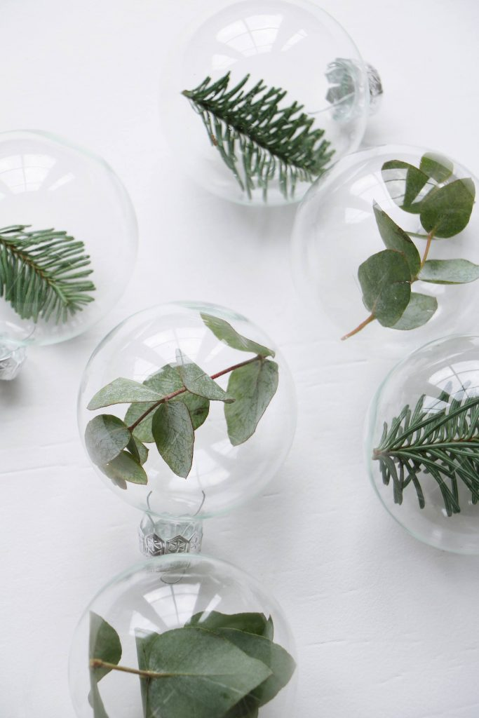 greenery Christmas baubles