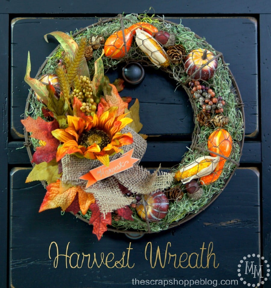 This chicken wire wreath can be filled with just about anything and is the perfect harvest wreath when filled with Spanish moss and gourds!