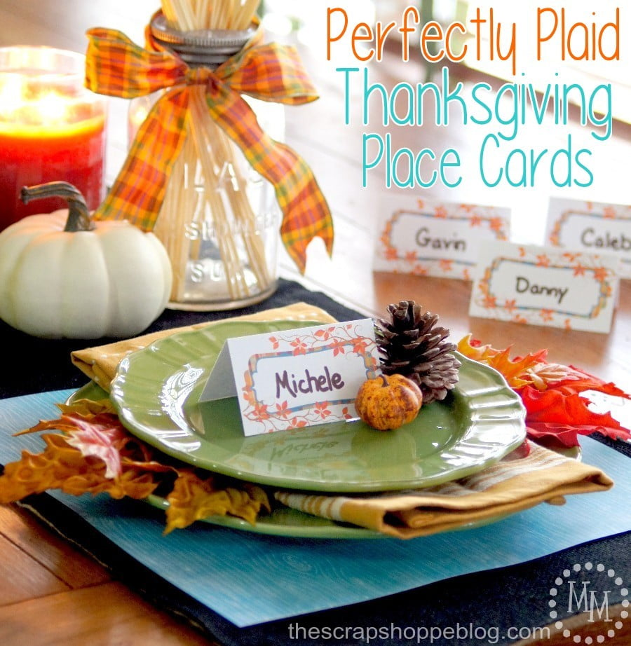 Print your own fall-themed Thanksgiving place cards with this FREE printable!