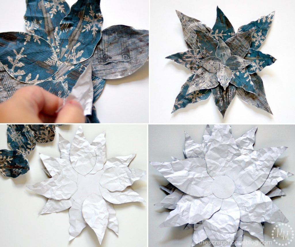 This DIY paper poinsettia can be used as a centerpiece, wall decor, on garland, or even the Christmas tree!