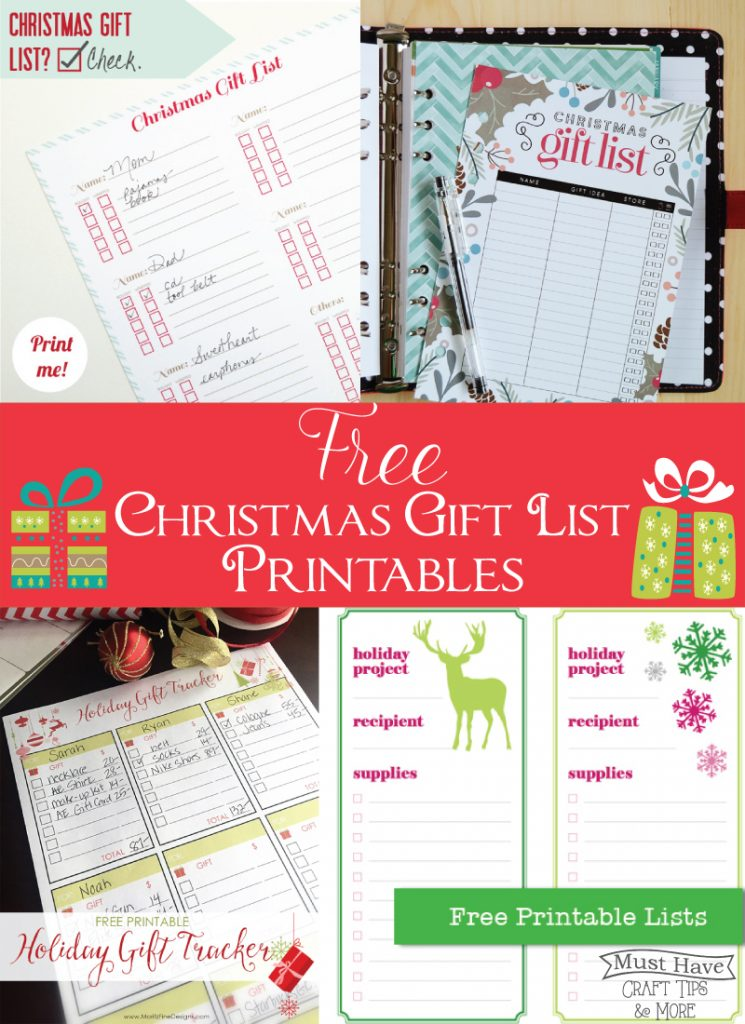 FREE Christmas Gift List Printables