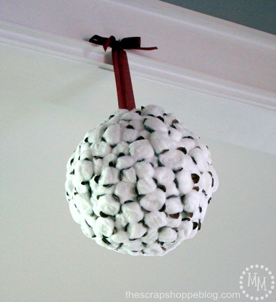DIY your own cotton wreath or cotton kissing ball. It's so much less expensive than the real deal and looks the same!