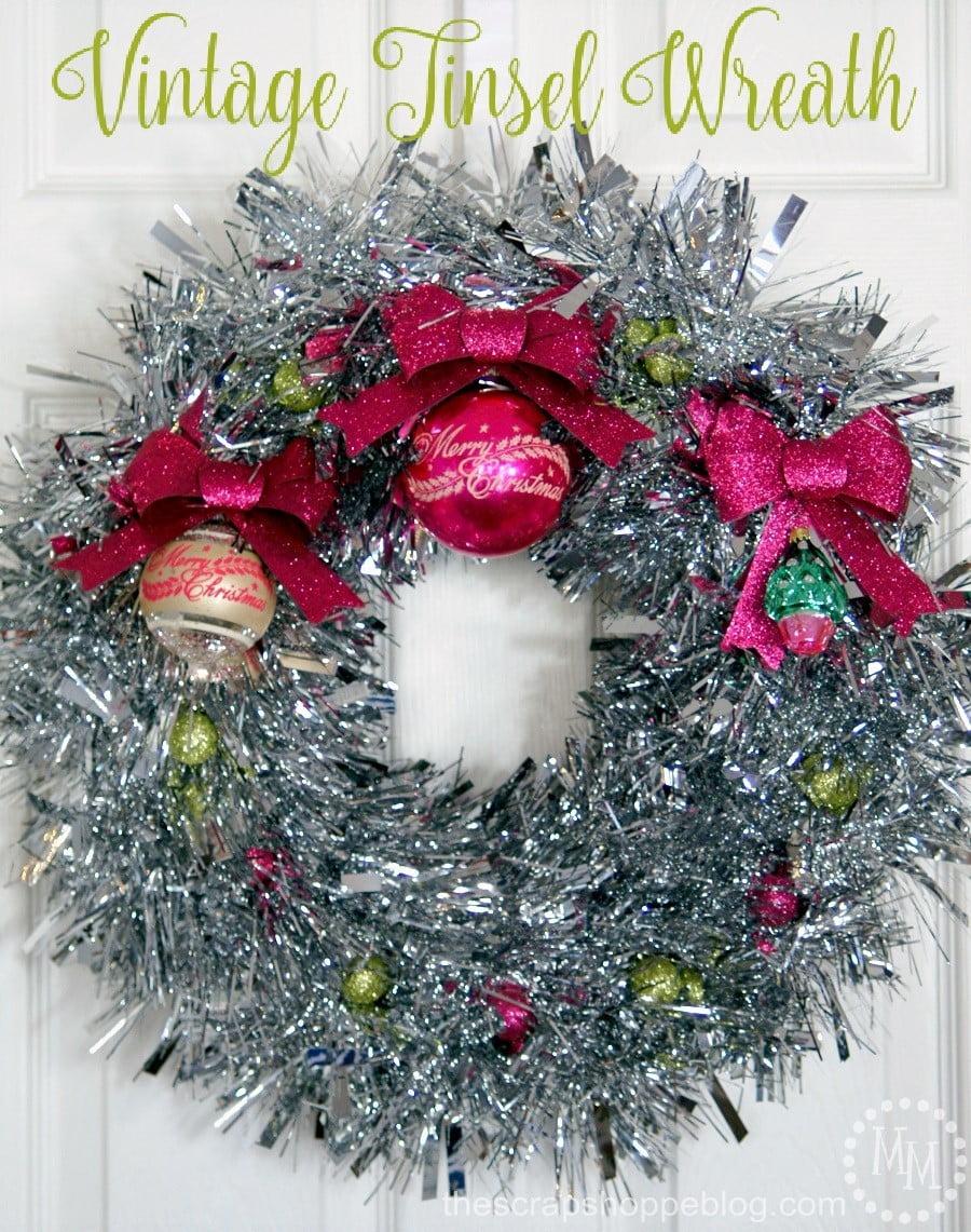 Vintage tinsel wreath the scrap shoppe