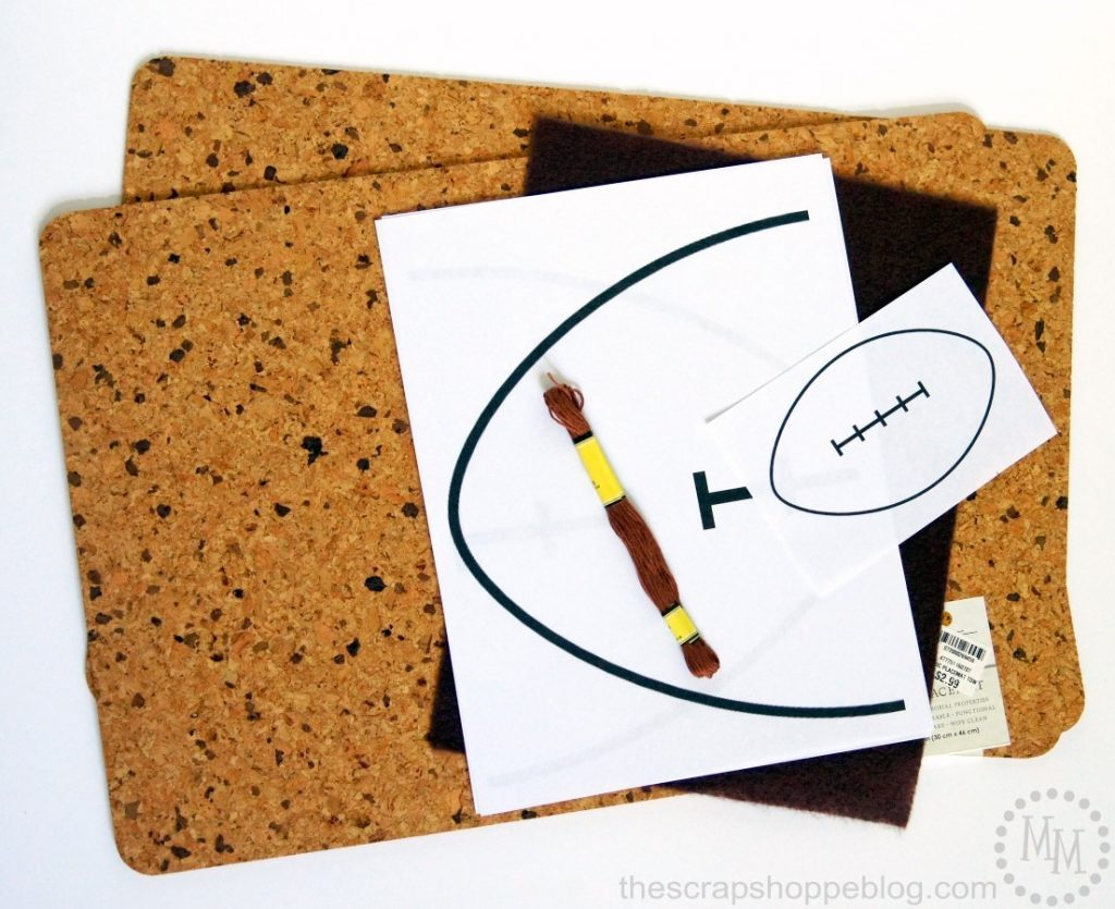 Create your own Big Game inspired cork coasters and trivet!