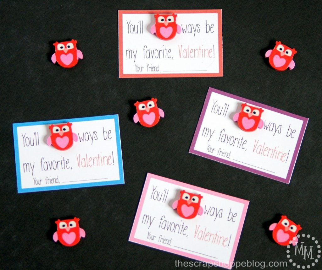 These cute owl eraser valentines are perfect to hand out at school!
