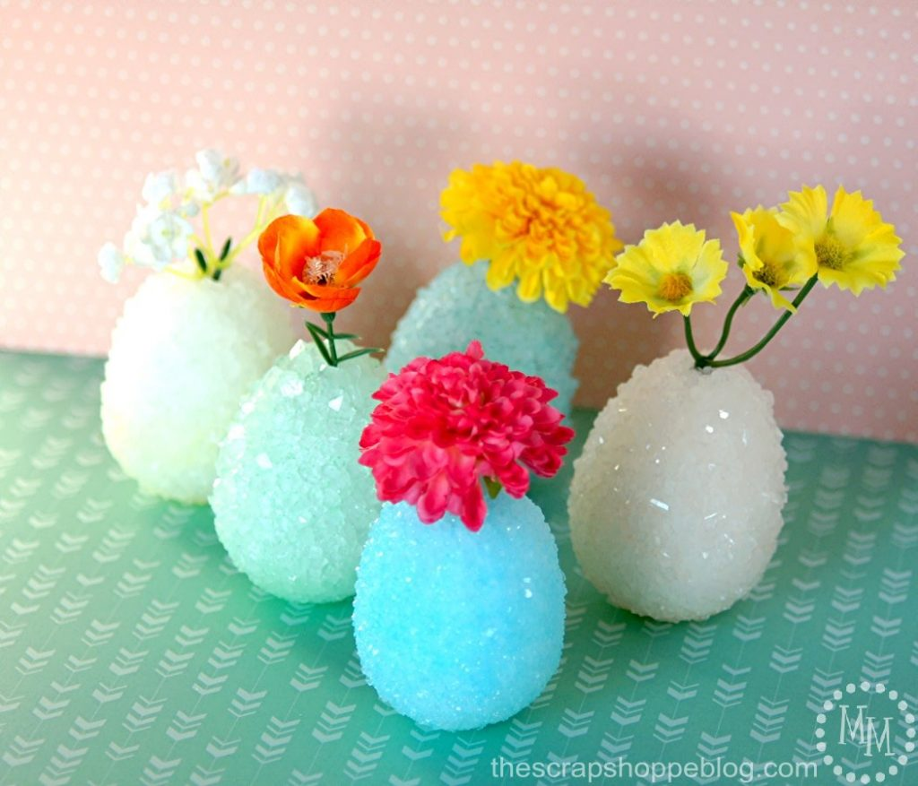 Make crystal eggs with the kids then turn them into crystallized egg vases!