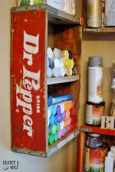 soda crate paint storage
