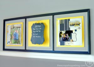 Entryway Artwork Scheduler - a great way to display scrapbook pages AND post weekly family reminders!