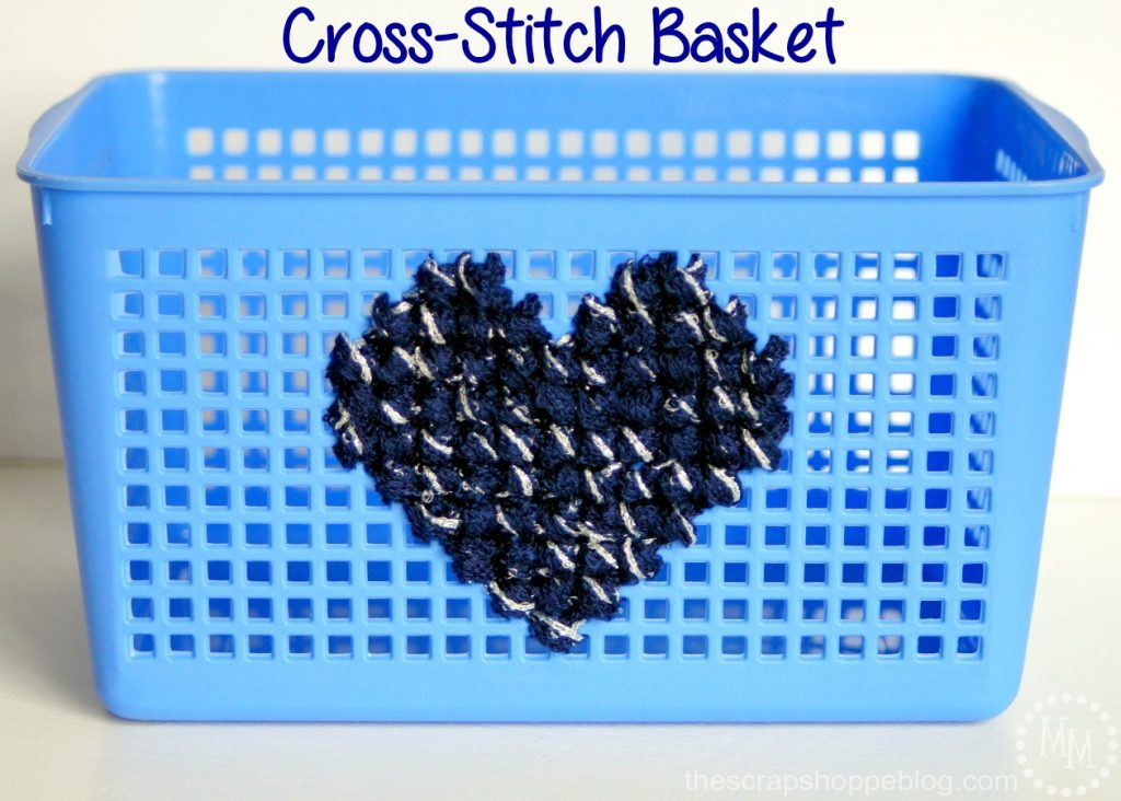 Anything with symmetrical holes can be cross-stitched, even an inexpensive storage basket!