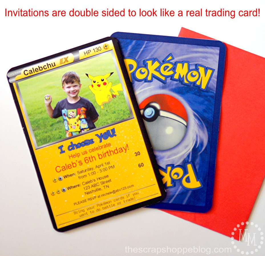 Digital Pokémon EX trading card birthday invitation that looks like a real Pokémon jumbo card!