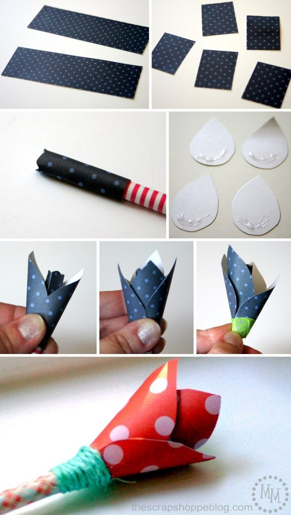 These DIY paper tulip pencil toppers are a cute little gift for teachers or moms!
