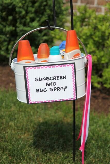 sunscreen and bug spray station