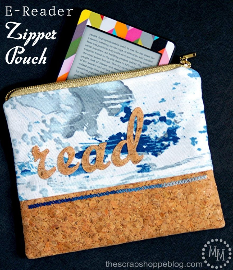 Carry your e-reader in style with this DIY stitchable cork and fabric zipper pouch!