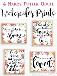Harry Potter Quote Watercolor Prints