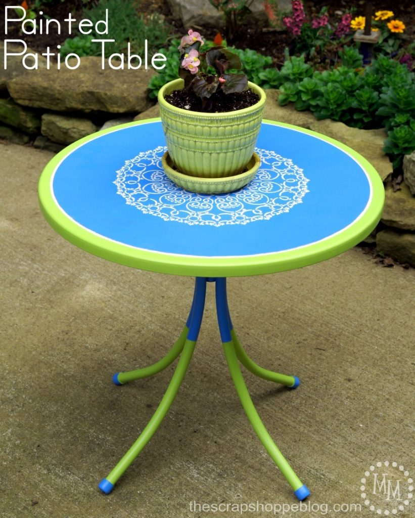 Give an old outdoor table a fresh new look with paint and a stencil!