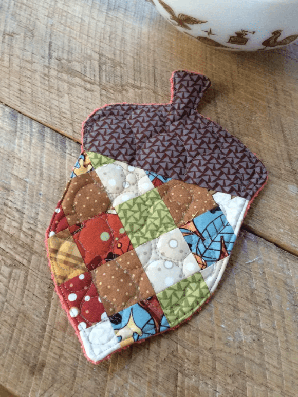 patchwork acorn potholder