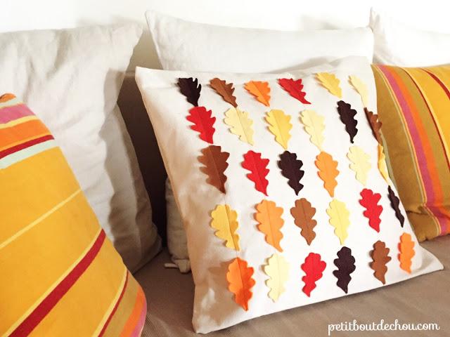 felt leaves pillow