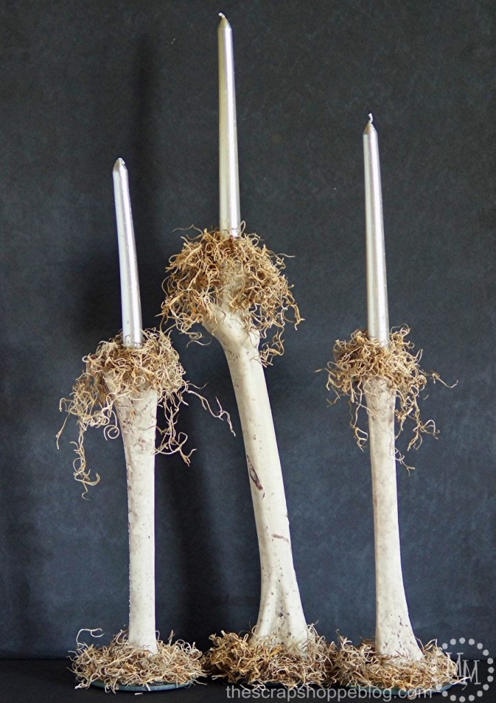 These DIY bone candlesticks are perfect for Halloween decorating and can be made in 30 minutes!